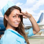 Smiling stewardess portrait